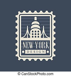 Brooklyn Bridge on American postage stamp. Famous landmark...