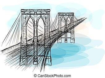 brooklyn bridge on multicolor background. 10 EPS