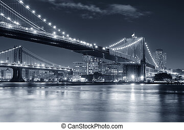 New York City Manhattan - Brooklyn Bridge over East River at...
