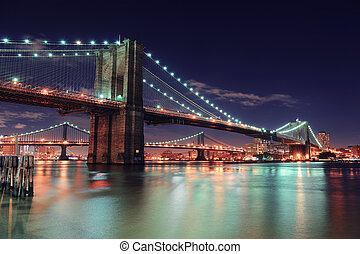 New York City Manhattan - Brooklyn Bridge over East River at...