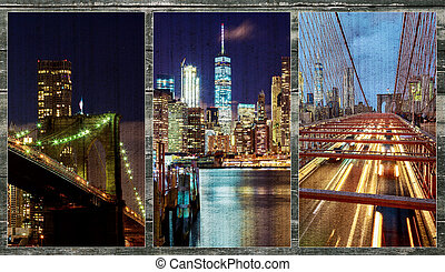 Brooklyn Bridge over East River at night in New York City photo collage from different picture Manhattan with lights and reflections.