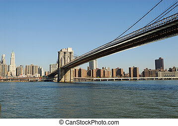 Brooklyn Bridge over the East River, New York City