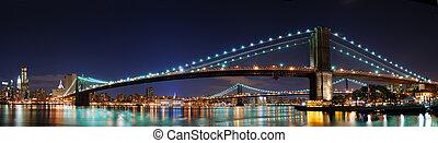 Brooklyn Bridge panorama in New Yor - New York City...