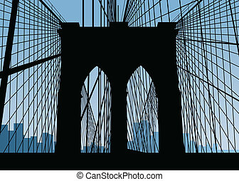 Brooklyn Bridge Silhouette - Silhouette of the Brooklyn...