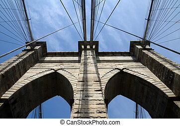 Brooklyn Bridge pier and cables