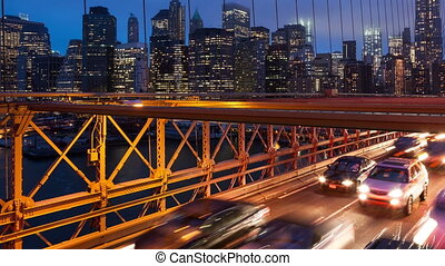 Brooklyn bridge timelapse - Brooklyn bridge car traffic...