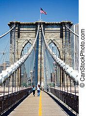 Brooklyn Bridge - View of Brooklyn bridge towards Manhattan.