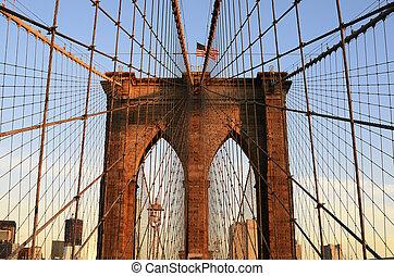 Brooklyn Bridge - Walkway on the brooklyn bridge in New York...