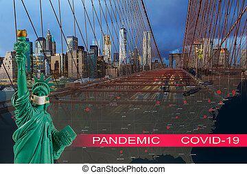 Brooklyn Bridge with USA quarantine pandemic with coronavirus COVID-19 US map attack coronavirus in the statue of liberty New York City skyline