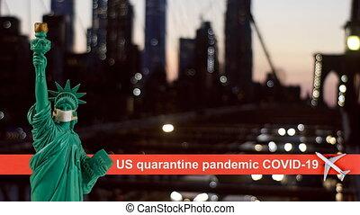 Brooklyn Bridge with USA quarantine pandemic with coronavirus COVID-19 US map attack coronavirus in the statue of liberty New York City skyline