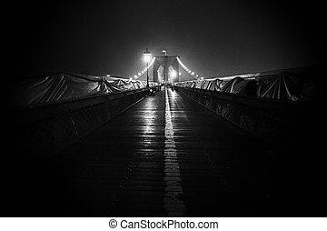 brooklyn bridzs, és, manhattan égvonal, éjjel, nyc