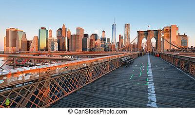 brooklyn bridzs, -ban, napkelte, új york város, manhattan