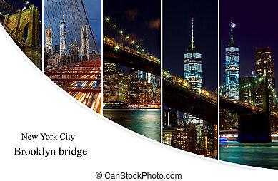 brooklyn bridzs, felett, kelet folyó, éjjel, alatt, új york...