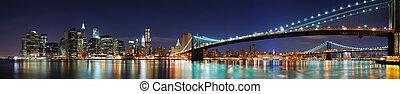 brooklyn bridzs, panoráma, alatt, új york város, manhattan