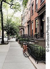 Brooklyn Heights - Row of old houses at Brooklyn Height, New...