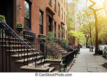 Brooklyn Heights - A View from idyllic Brooklyn Heights,...