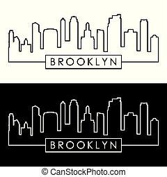 Brooklyn, New York city skyline. Linear style. Editable...