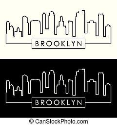 Brooklyn, New York city skyline. Linear style.