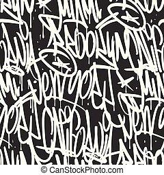 Brooklyn New York Miami California graffiti seamless pattern