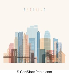 Brooklyn, New York  skyline detailed silhouette