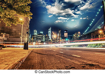 Brooklyn, New York. View of Manhattan skyline at night