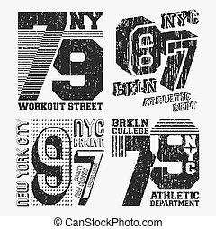 Brooklyn New York vintage t shirt stamp set