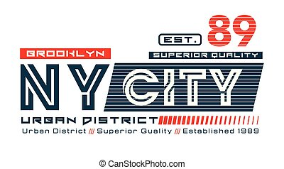 Brooklyn NY City 89 typography design with a background of...