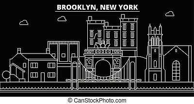 Brooklyn silhouette skyline. USA - Brooklyn vector city, american linear architecture, buildings. Brooklyn travel illustration, outline landmarks. USA flat icon, american line banner