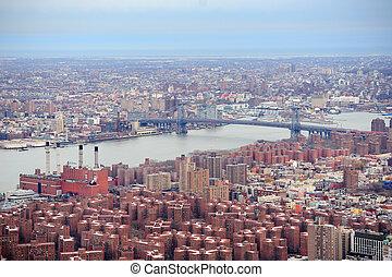 Brooklyn skyline Arial view from New York City Manhattan...