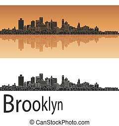 Brooklyn skyline in orange background in editable vector...
