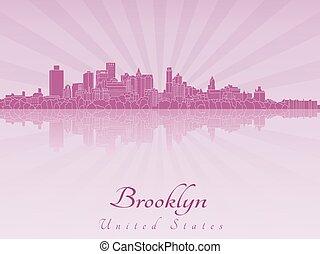 Brooklyn skyline in purple radiant orchid