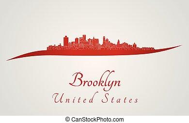 Brooklyn skyline in red