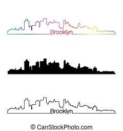 Brooklyn skyline linear style with rainbow in editable...