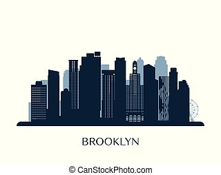 Brooklyn skyline, monochrome silhouette. Vector...