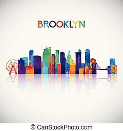 Brooklyn skyline silhouette in colorful geometric style.