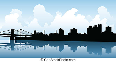 Brooklyn Skyline - Skyline silhouette of the city of...