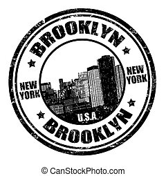 Brooklyn stamp - Black grunge rubber stamp with the name of...