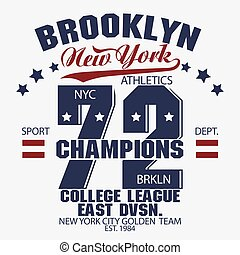 Brooklyn t-shirt graphics - New York Brooklyn Sport wear...
