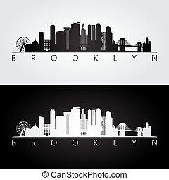 Brooklyn, USA skyline and landmarks silhouette.