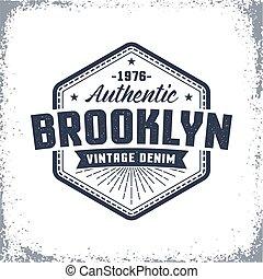 Brooklyn vintage logo with grunge effect