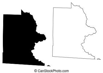 Brooks County, Georgia (U.S. county, United States of America, USA, U.S., US) map vector illustration, scribble sketch Brooks map