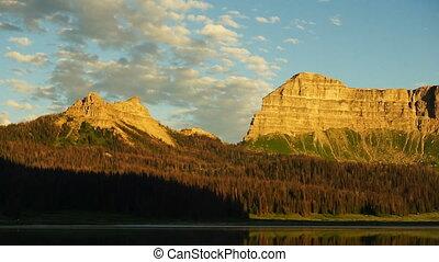 Brooks Lake Breccia Cliffs Mountain Range Shoshone National...