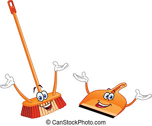 Broom and dustpan cartoon