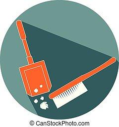 Broom and dustpan flat design