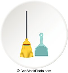 Broom and dustpan icon circle
