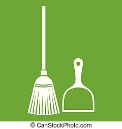 Broom and dustpan icon green