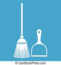 Broom and dustpan icon white