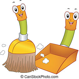 Broom and Dustpan Mascots - Mascot Illustration of a Broom...
