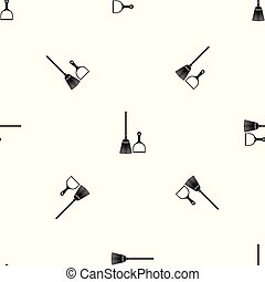 Broom and dustpan pattern seamless black - Broom and dustpan...