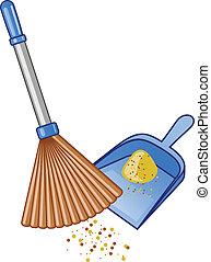 Broom and dustpan . Vector illustration.